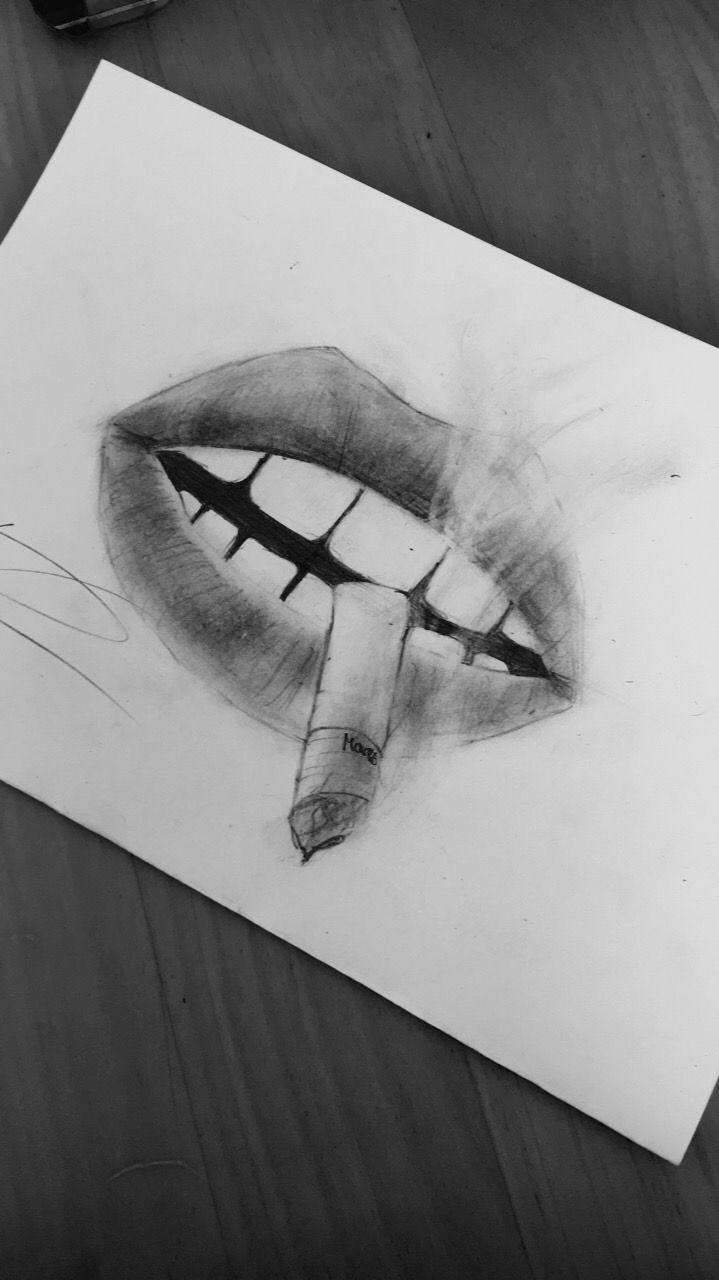 Lips cigarette smoke deep drawing pencil