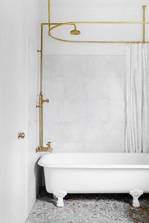 Casagiardino Brass Fixtures And Clawfoot Tub Shower Rod