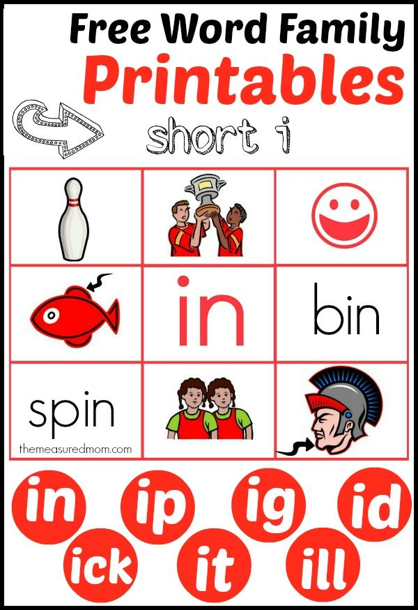 Free Word Family Printables 7 Read N Stick Mats For Short I