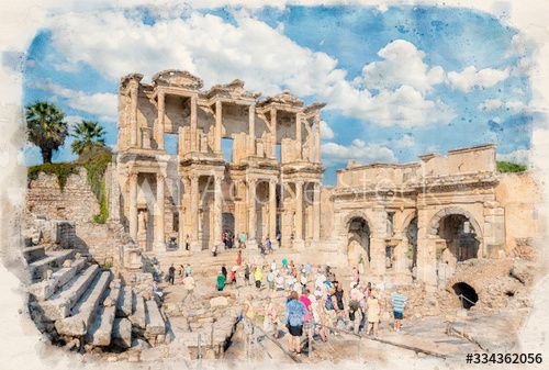, Library of Celsus and sculpture in the ancient city of Ephesus, Selcuk Izmir, Turkey in watercolor illustration style. Ancient Roman building on the coast of Ionia in honour of Tiberius. Efes, My Travels Blog 2020, My Travels Blog 2020