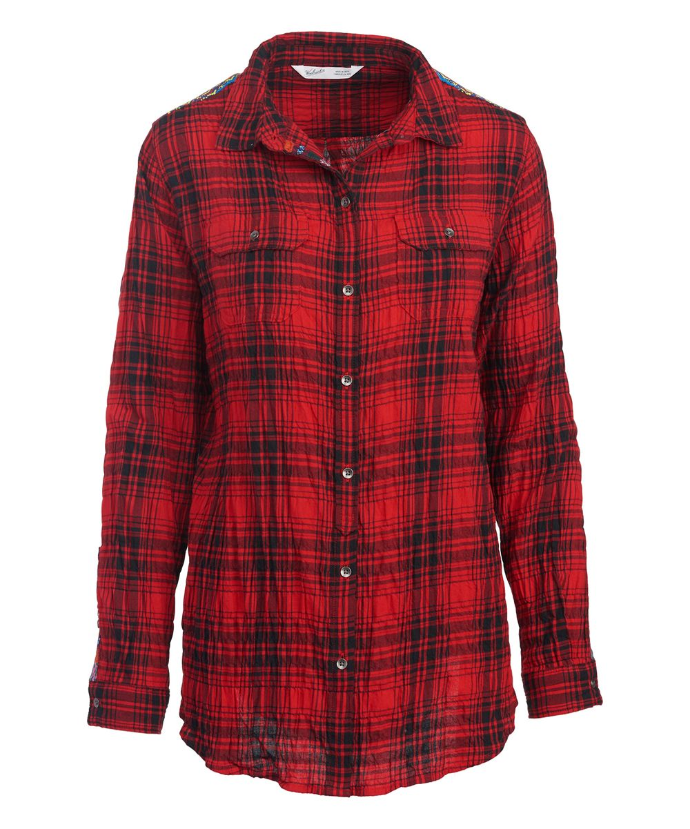 Button up flannel shirts  Red Hunt Plaid Malila Peak Flannel ButtonUp  Products  Pinterest