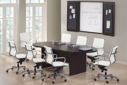 Espresso Racetrack Conference Table With Nova Chairs Available At - Espresso conference table