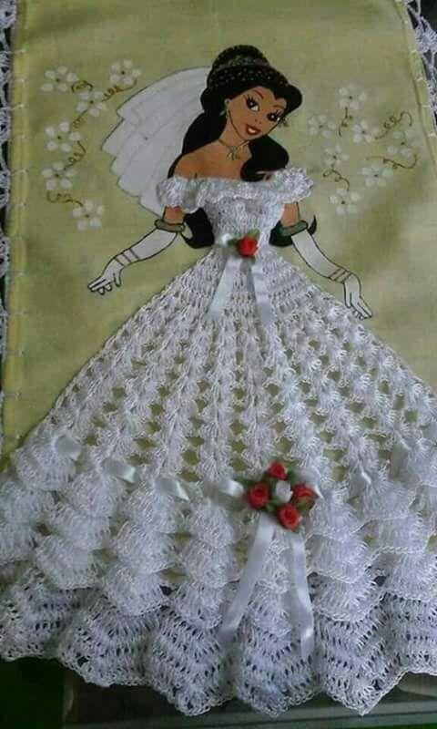 Muñeca pintada con vestido a crochet | Crochet | Pinterest | Pintar ...