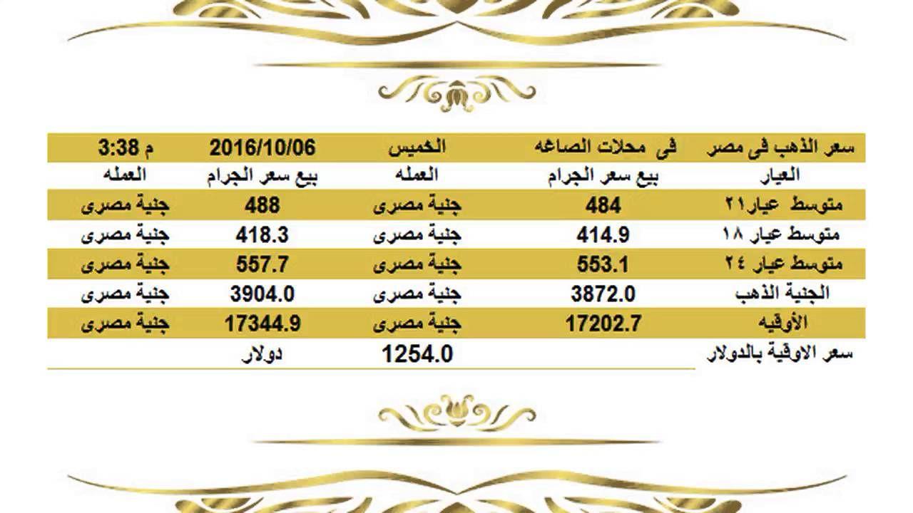 سعر الذهب اليوم الخميس 6 10 2016 في مصرالساعة 3 30 عصرا سعر الذهب فى مصر Gold Rate Gold