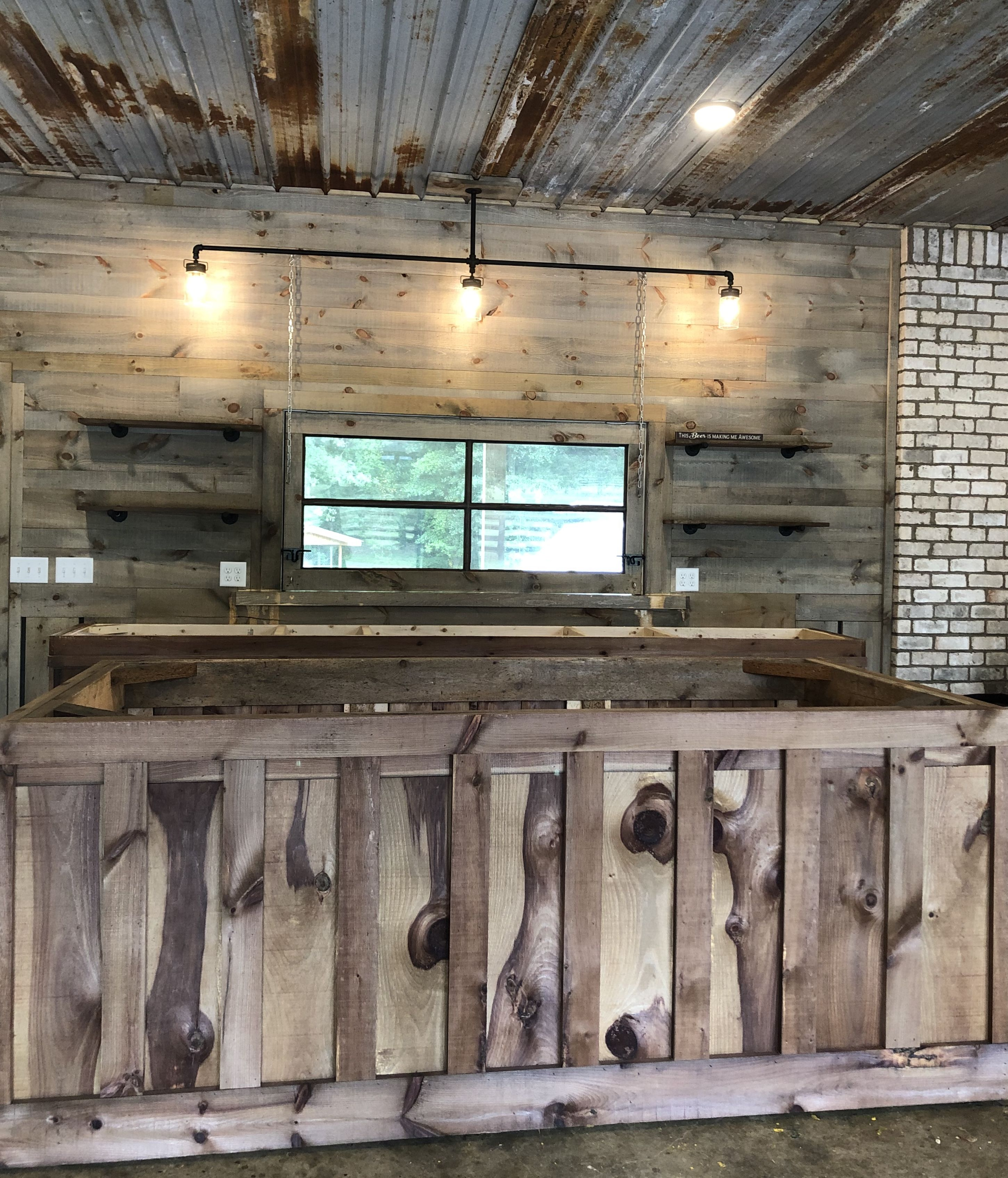 Rustic Man Cave Makeover Tin Ceiling Rough Sawn Lumber Mason Jar Lights Weathered Stain Kitchen Rustic Tin Ceilings Tin Ceiling Rustic Man Cave