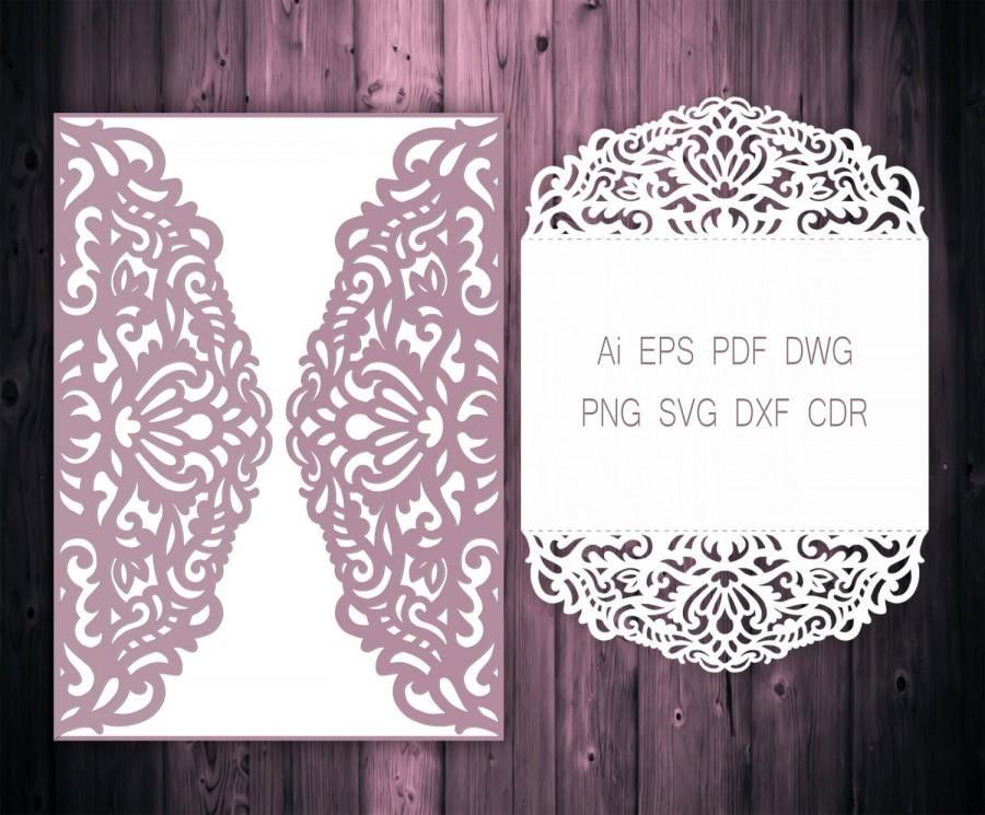 X GateFold Wedding Invitation Laser Cut Card Template