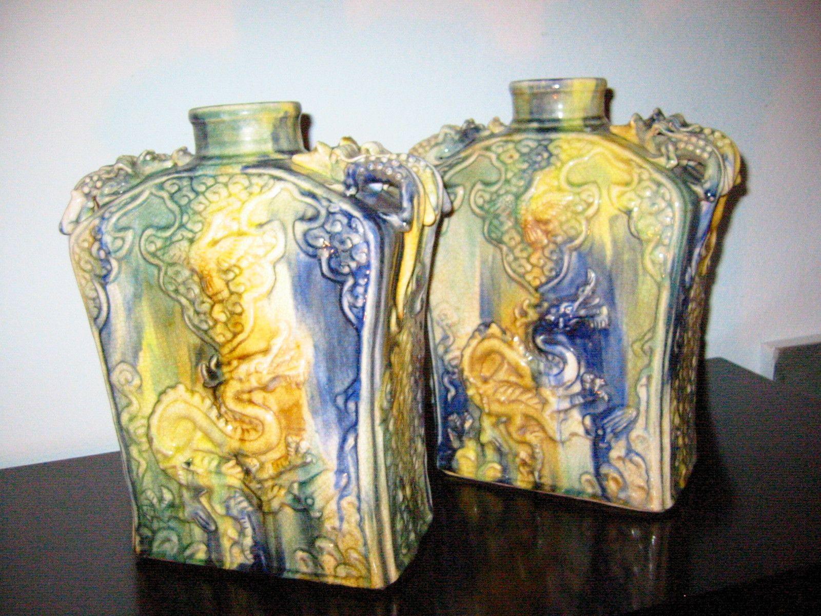 Asian Majolica Ceramic Vases Vessels Decorated Swirl Dragons