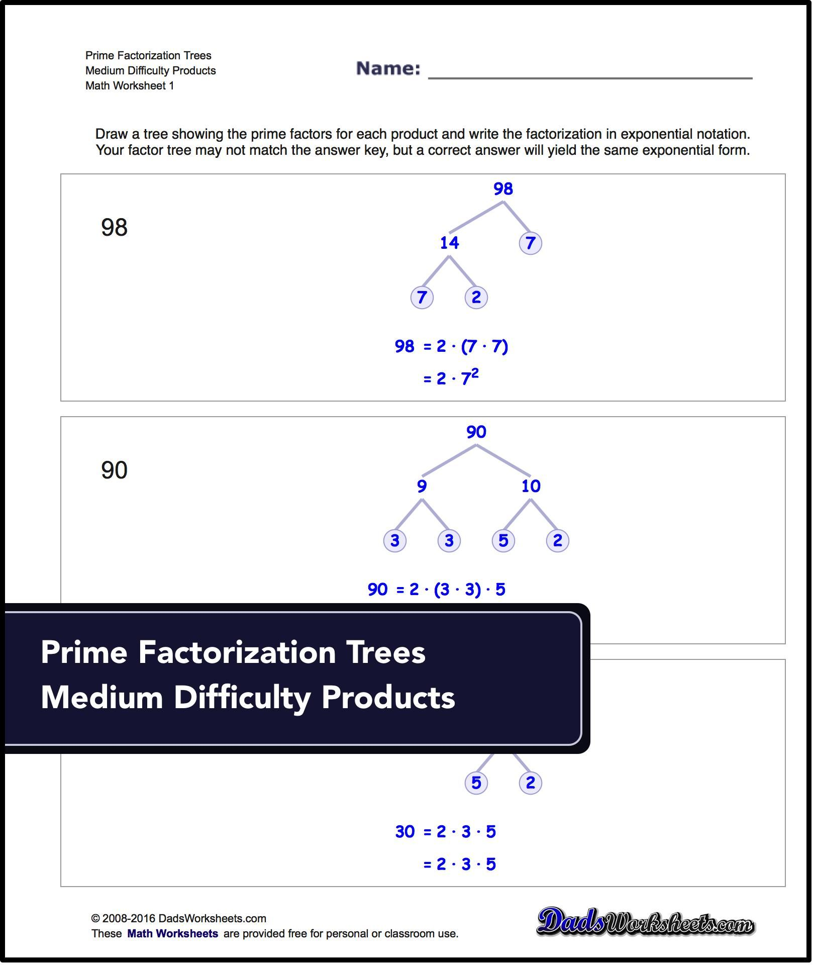 Factorization Gcd Lcm Prime Factorization These Worksheets Require Trees To Determine The