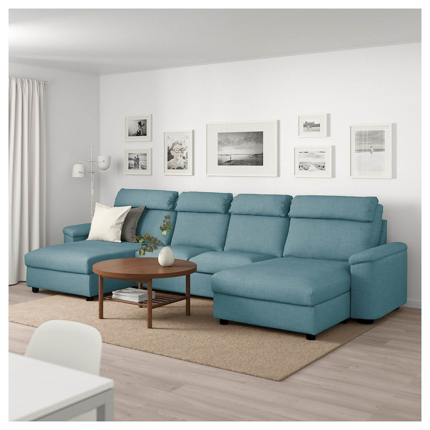 Lidhult Sectional 4 Seat With Chaise Gassebol Blue Gray Learn More Sofa Back Cushions Furniture Sofa Set