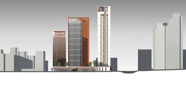 Концепция жилого комплекса на Рублевском шоссе. Развертка по Рублевскому шоссе © «Сергей Скуратов ARCHITECTS»