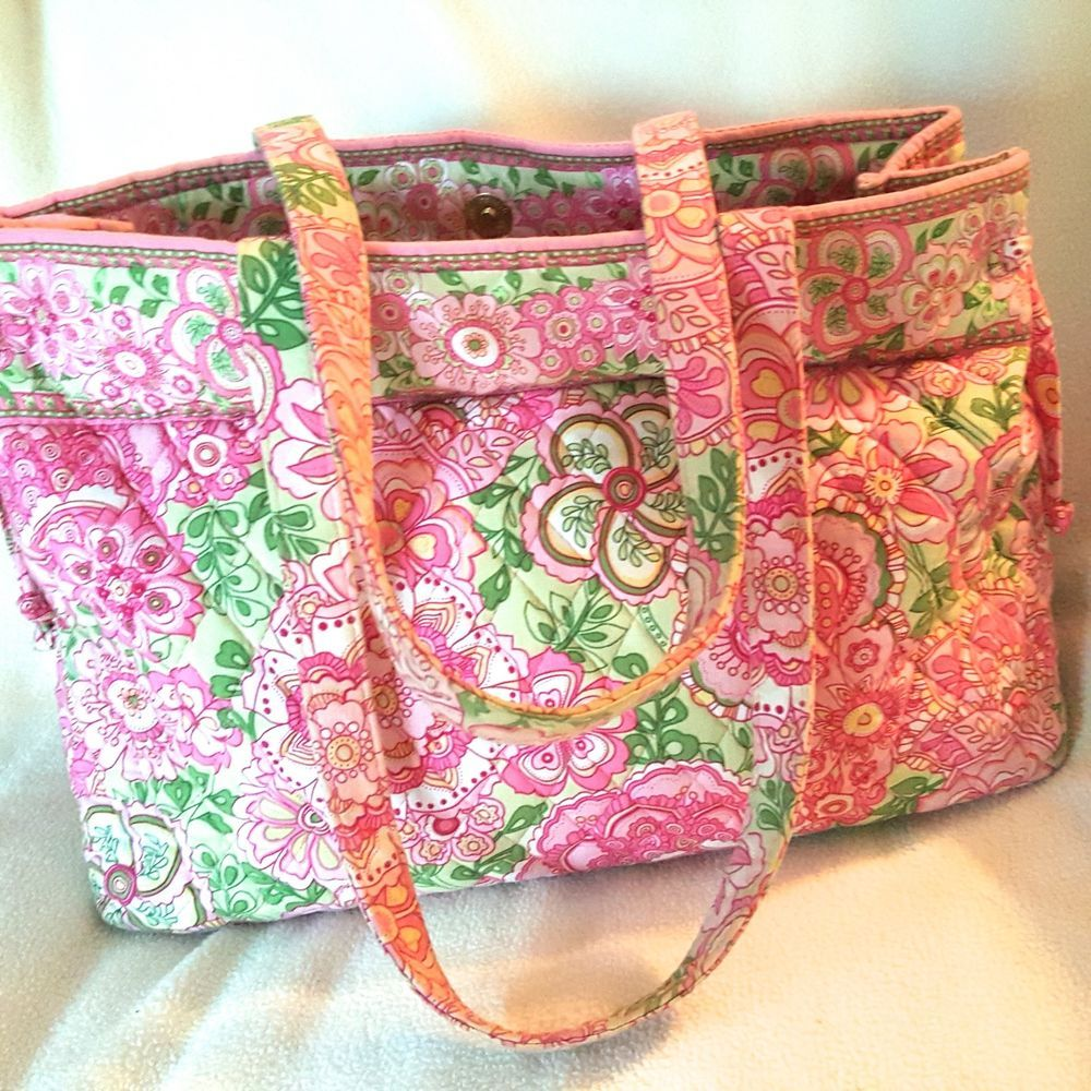Vera Bradley Petal Pink Tie Tote Shoulder Bag Purse Rare Retired #VeraBradley…