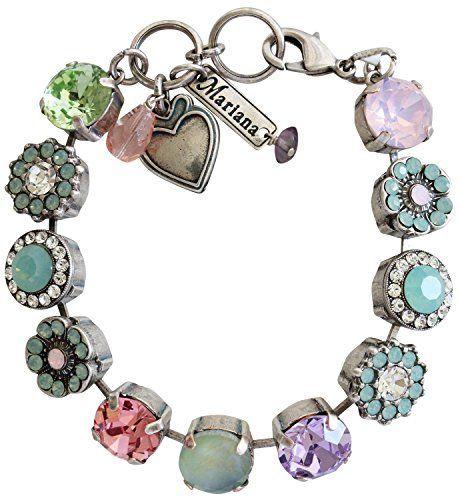 "Mariana Silvertone Large Flower Shapes Swarovski Crystal Bracelet, 7.5"" ""Pina Colada"" Multi 4084 1063"