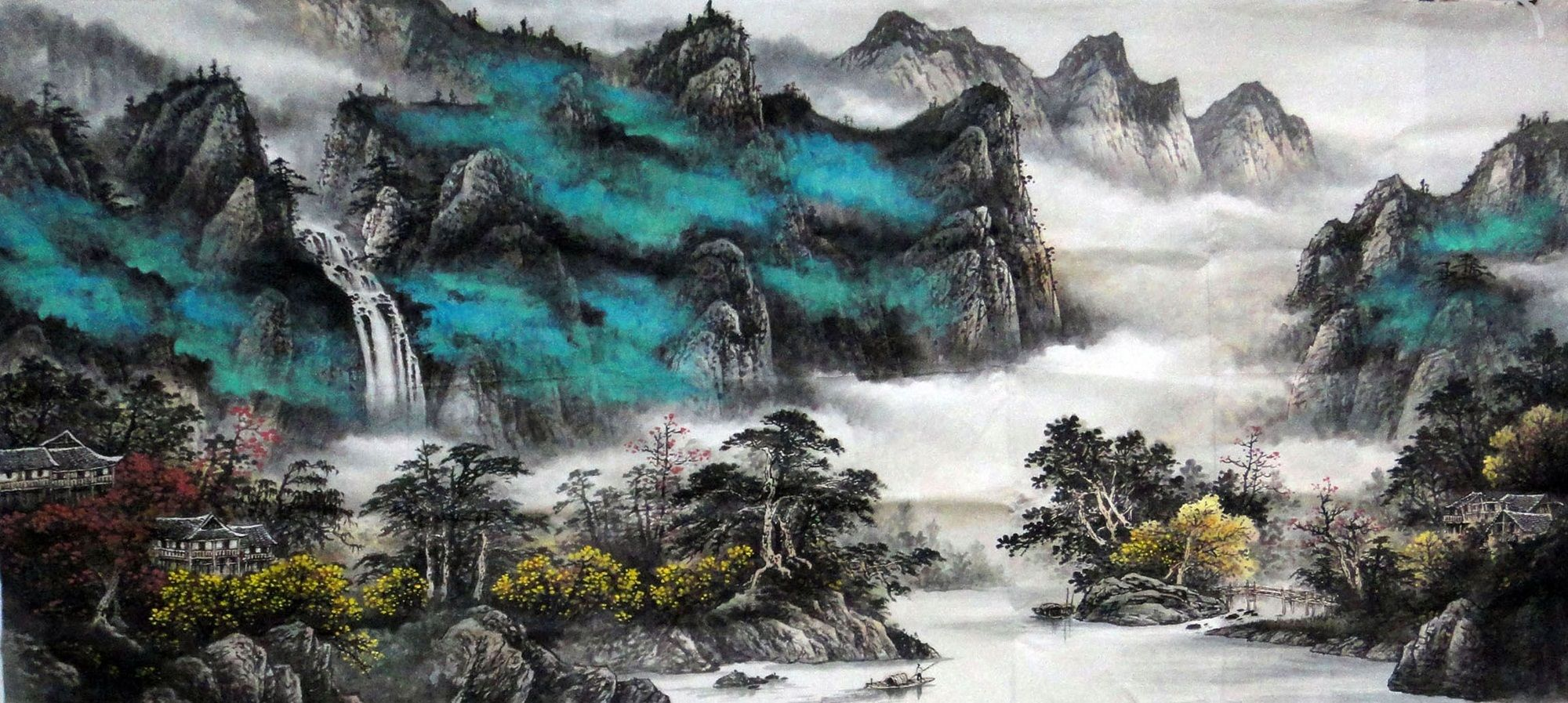 Watercolor art history brush - Rural River Mountain Landscape Abstract Art Chinese Watercolor Brush Painting 80cm 180cm Chinese Wall