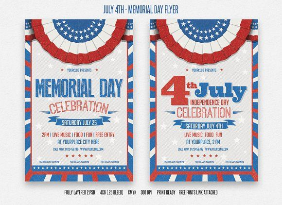 July Th And Memorial Day Flyer  Flyer Template Template And