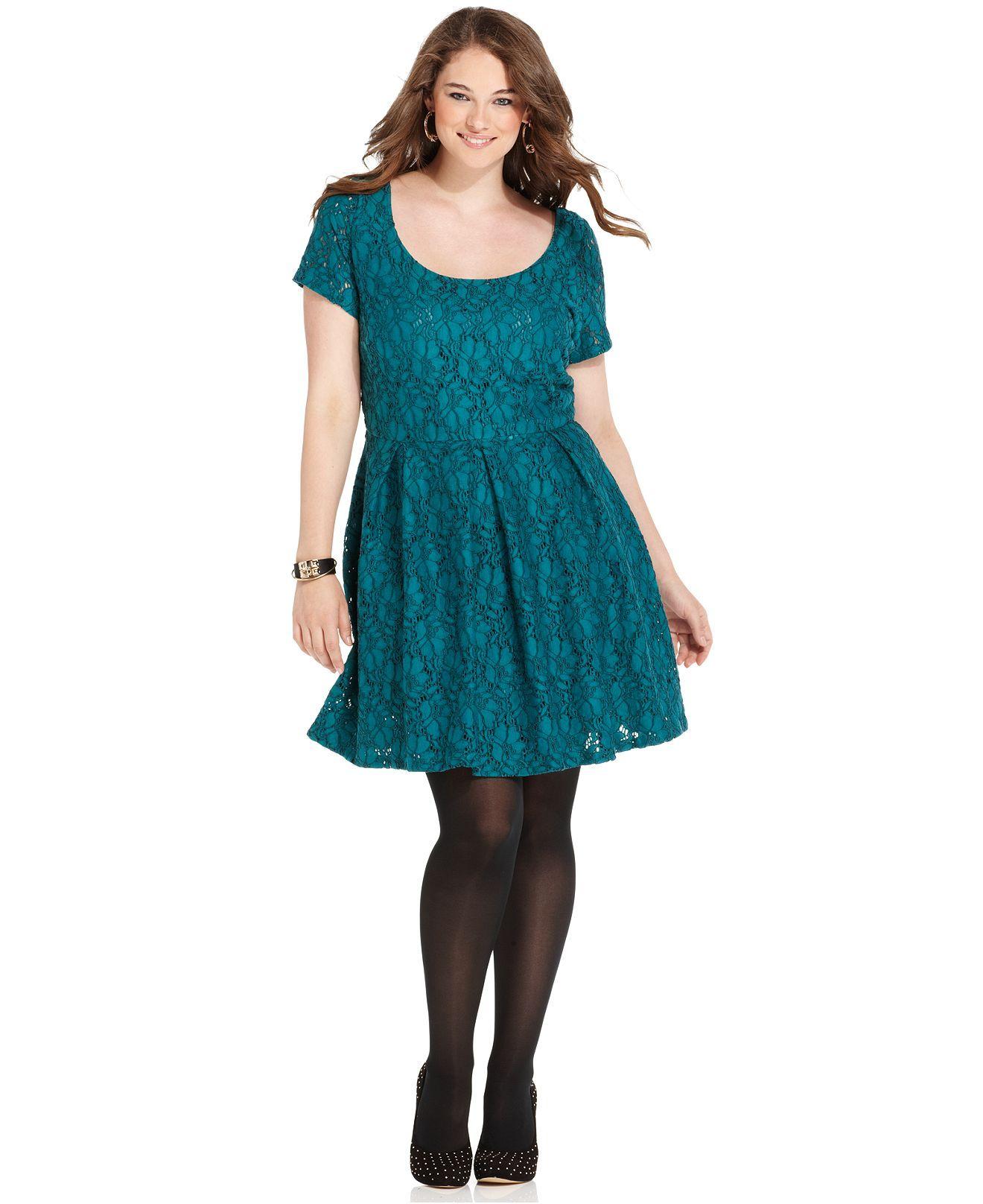 Jessica Simpson Plus Size Dress, Short-Sleeve Lace Bow-Cutout A-Line ...