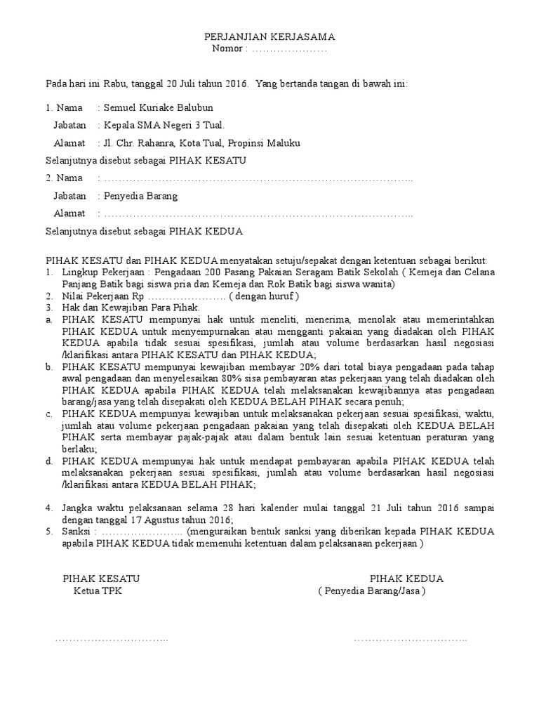 Contoh Surat Perjanjian Kerjasama Bagi Hasil Surat