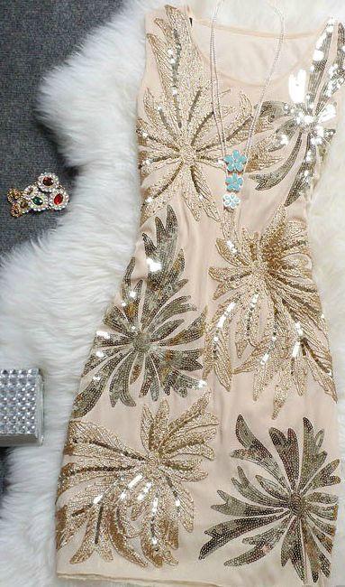 Beautiful Sequined Chiffon Party Dress