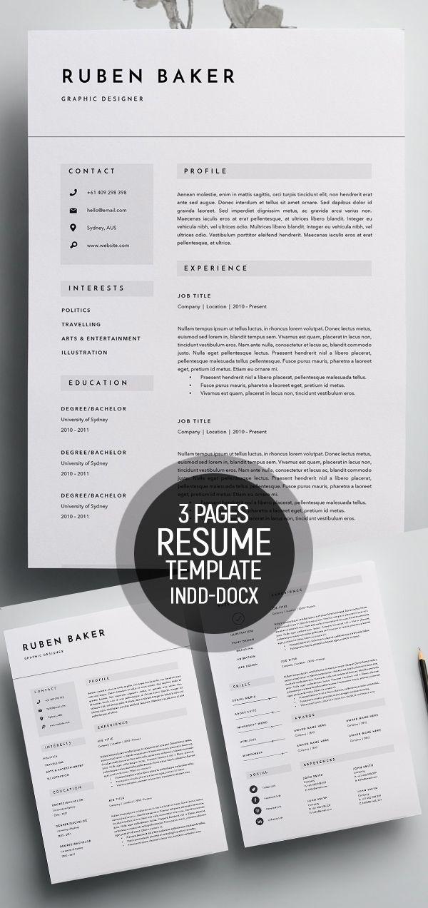 50 Best Minimal Resume Templates - 50 resume Pinterest Minimal