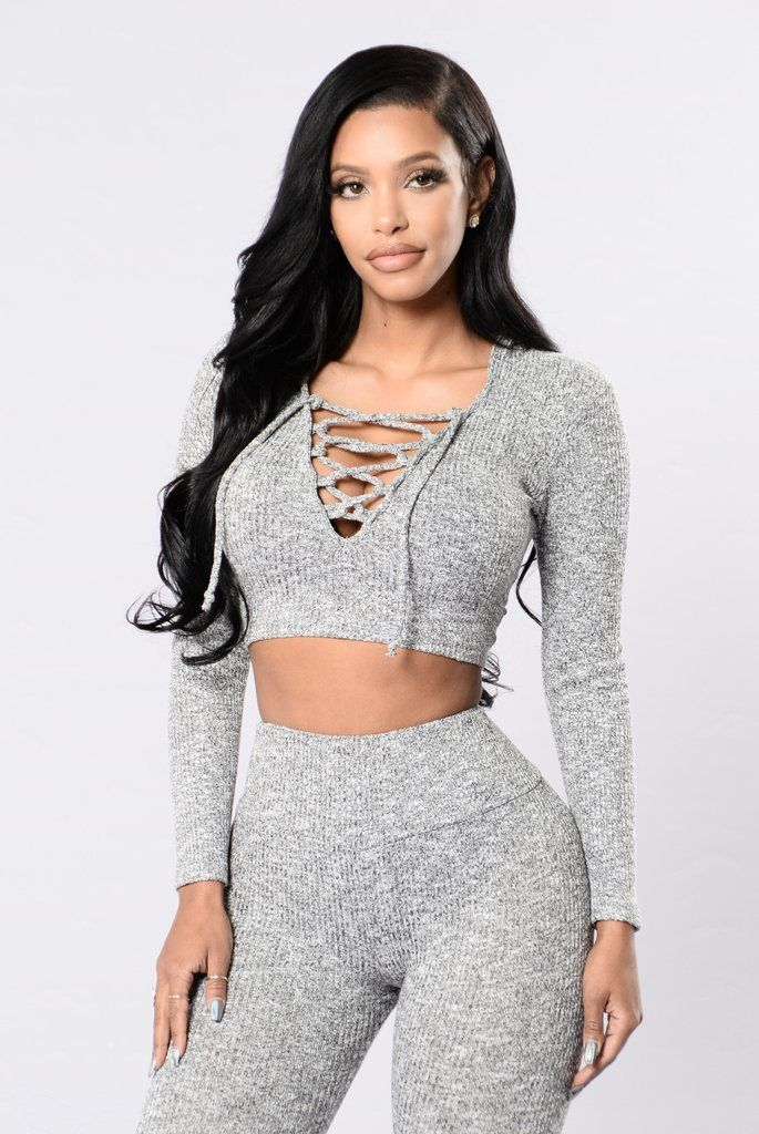 """- Available in Red Brown and Heather Grey - Pair with """"We Should Be Together Bottoms"""" - Lace up Front - V Neckline - Heathered - Crop Top - Made in USA - 48% Rayon 48% Polyester 4% Spandex"""