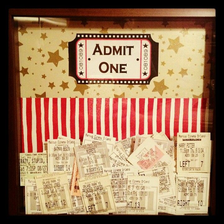 Ticket stub shadow box Pinning! Pinterest Ticket stubs, Shadow - create your own movie ticket