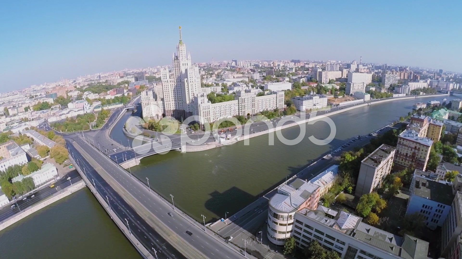 Cityscape with car traffic on Bolshoy Ustyinsky bridge Stock Footage trafficBolshoycarCityscape