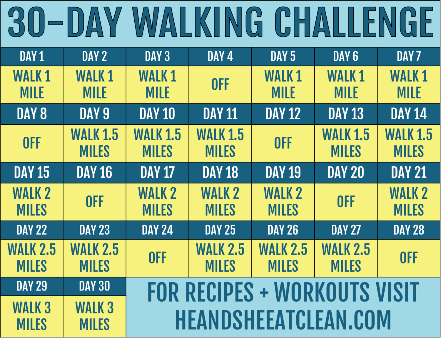 30Day Walking Challenge with Printable Tracking Chart