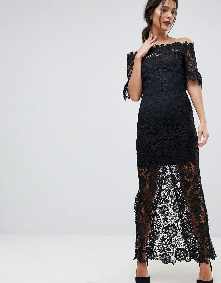 4025d0ff0486 Paper Dolls Off Shoulder Crochet Maxi Dress With Frill Sleeve - Black