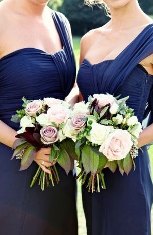 Vintage Inspired English Wedding And A Lace Wedding Dress Blue Bridesmaids Navy Bridesmaid Dresses Blue Winter Wedding
