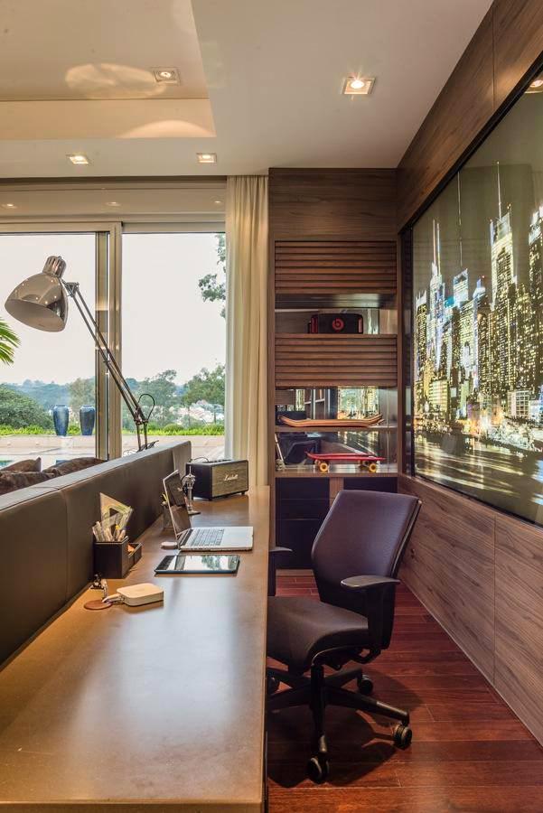 Home Office Atrás Da Cabeceira Da Cama Ilha   Lindo! Büro Eingerichtet,  Coole Bürofläche