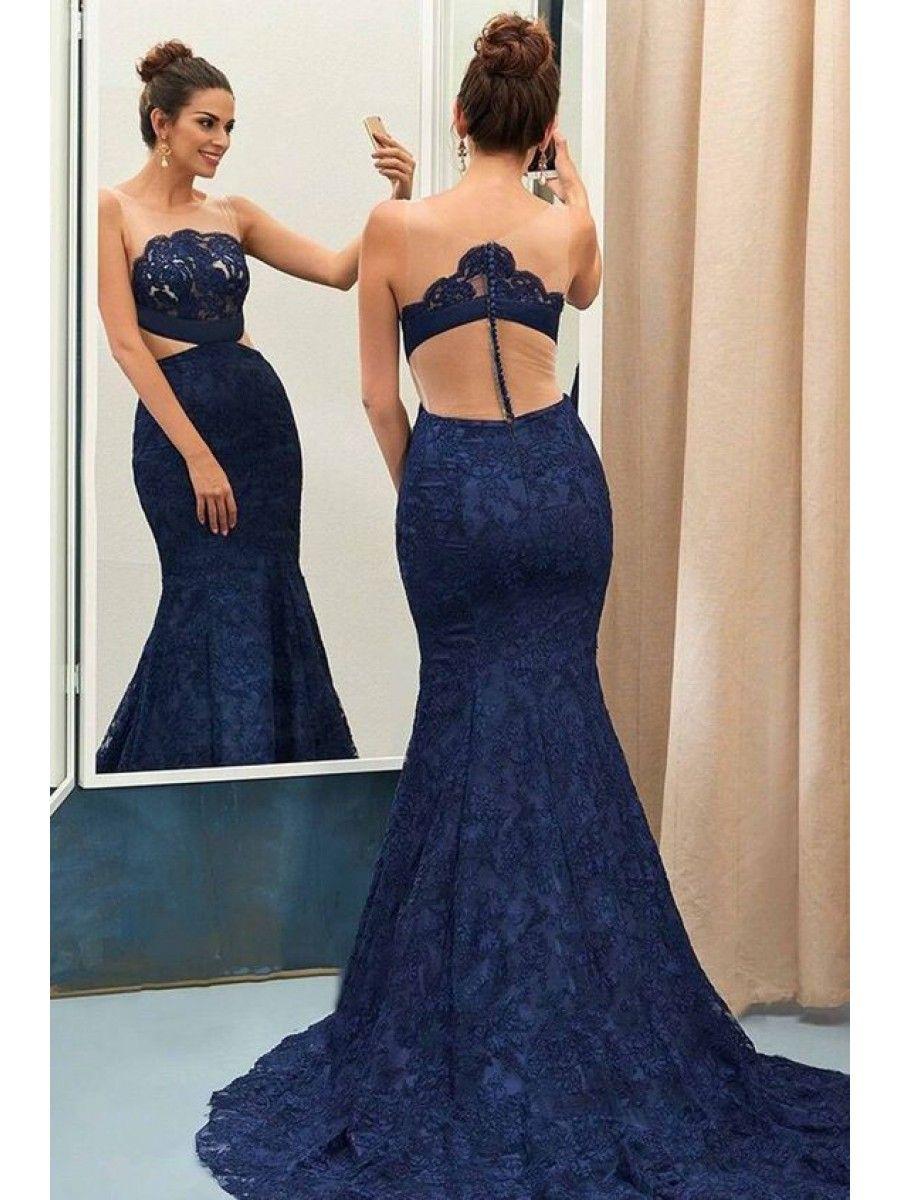 Mermaid long blue lace prom evening party dresses dresses