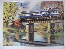 RANULPH BYE WATERCOLOR PRINT READING RAILROAD BUCKS COUNTY TRAIN BRIDGE CHALFONT