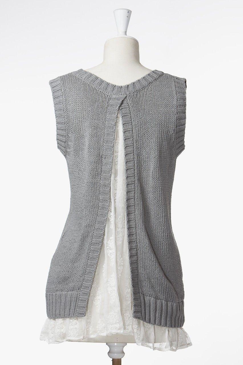 Clu - embroidered silk ruffled sleeveless sweater in grey, $329.00 (http://www.cluusa.com/embroidered-silk-ruffled-sleeveless-sweater-in-grey/)