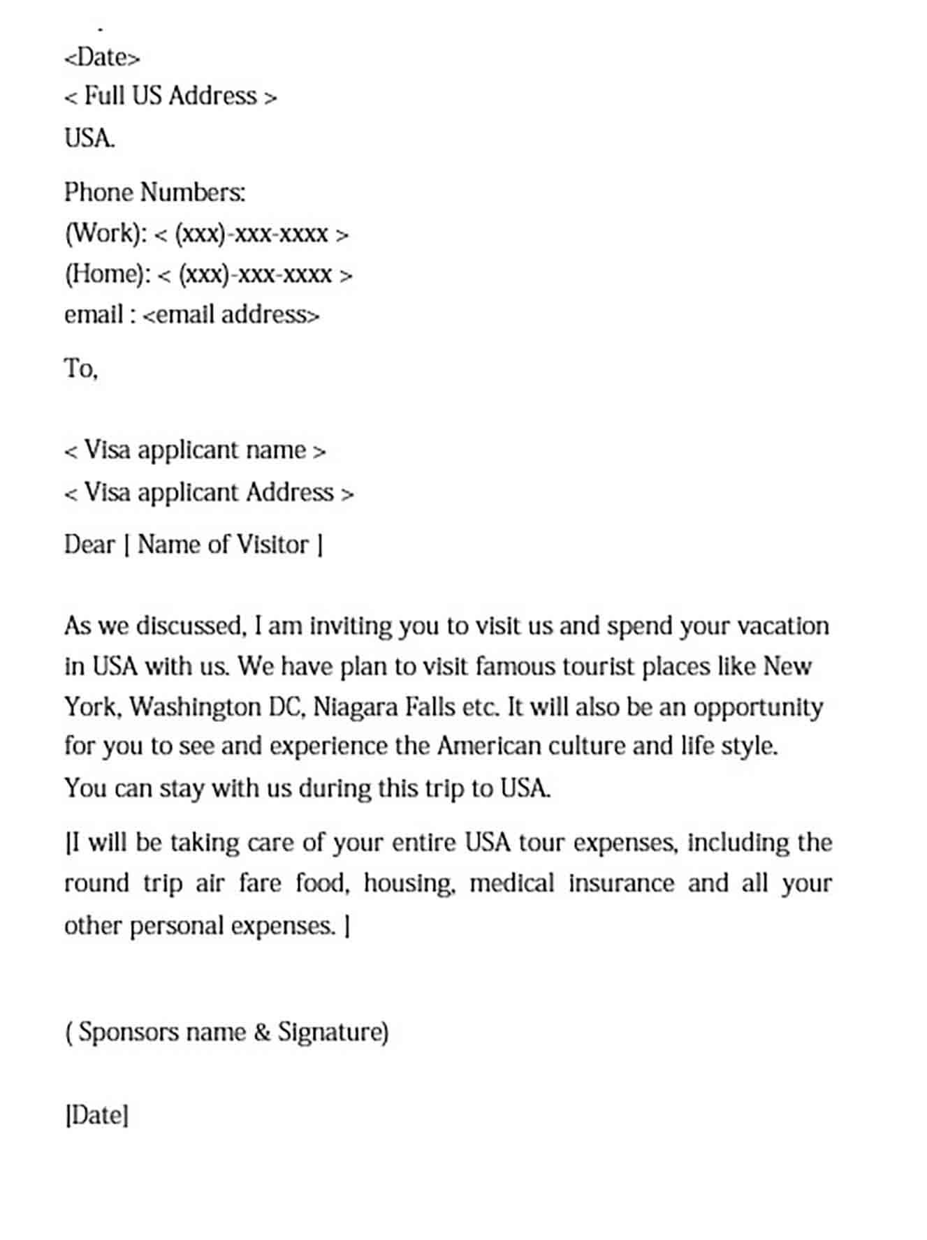 Visa Invitation Letter For Doc Pdf Word Visa Lettering