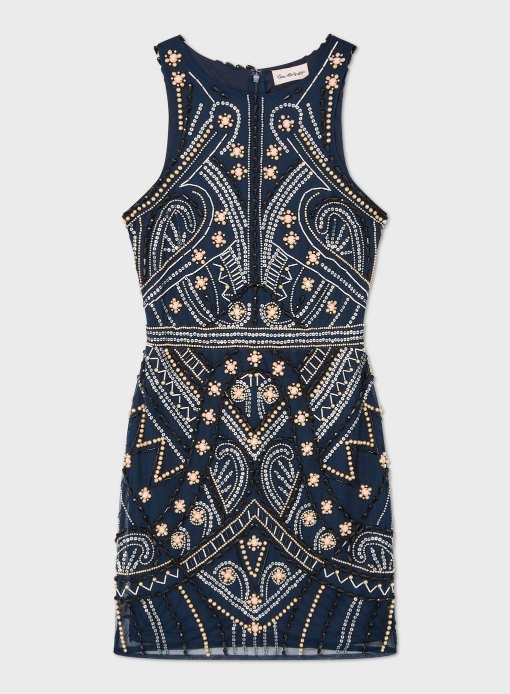 Navy Sleeveless Beaded Mini Dress - Dresses - Clot in 2020 ...