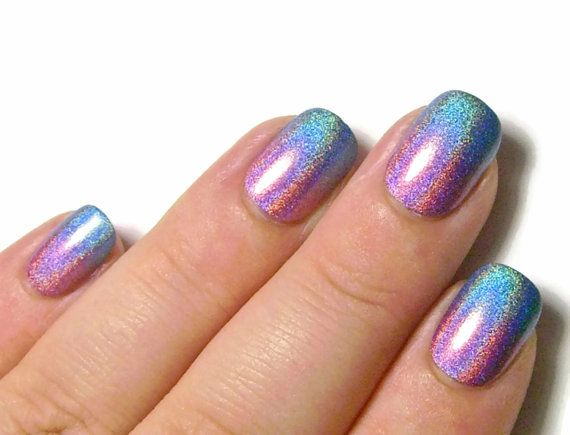 24 Extra Small Fake Nails - Pink & Blue Holographic Gradient ...