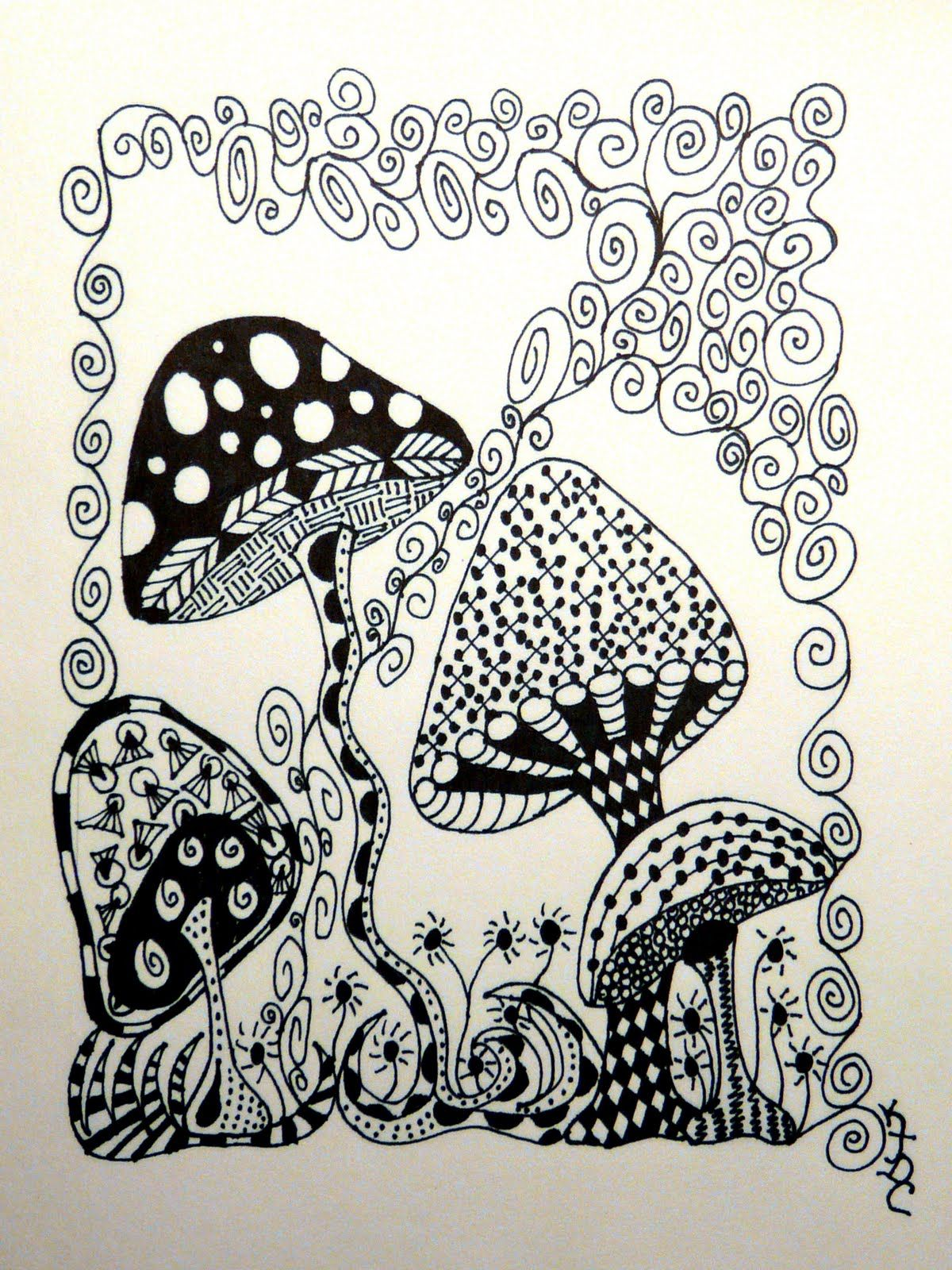 Zen doodle colour - Nice Mushrooms Abstract Doodle Zentangle Zendoodle Paisley Coloring Pages