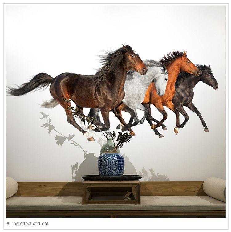 Shijuehezi Running Paarden Muurstickers Pvc Materiaal Steed Animal Wall Art Voor Woonkamer Restaurant Kantoor Decoratie Gran Muurstickers Paarden Decoratie