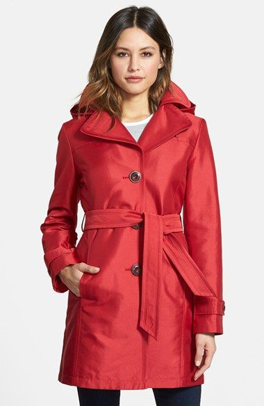 Ellen Tracy Single Breasted Sateen Trench Coat (Regular & Petite ...