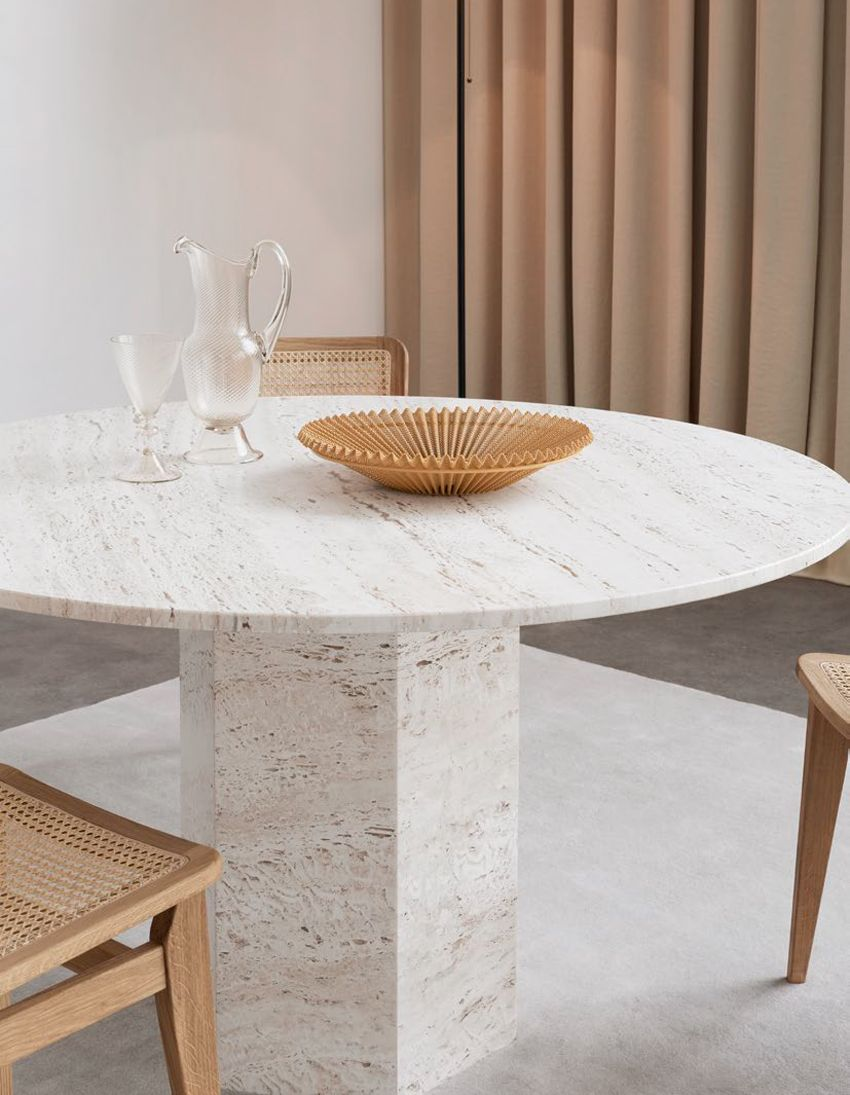 Epic Dining Table Round O130 In 2020 Round Dining Table Stone Dining Table Travertine Coffee Table