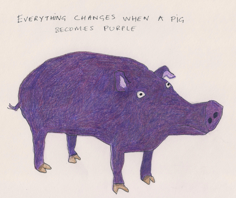 Purple Pig Original Pig Illustration Pig Illustration Pig Art Folk Art Gifts