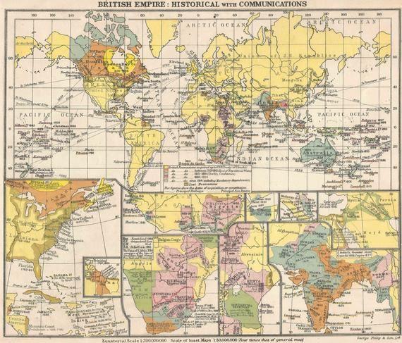 British Empire Historical World Map old maps home decor Vintage Prints British Isles Communications #britishisles
