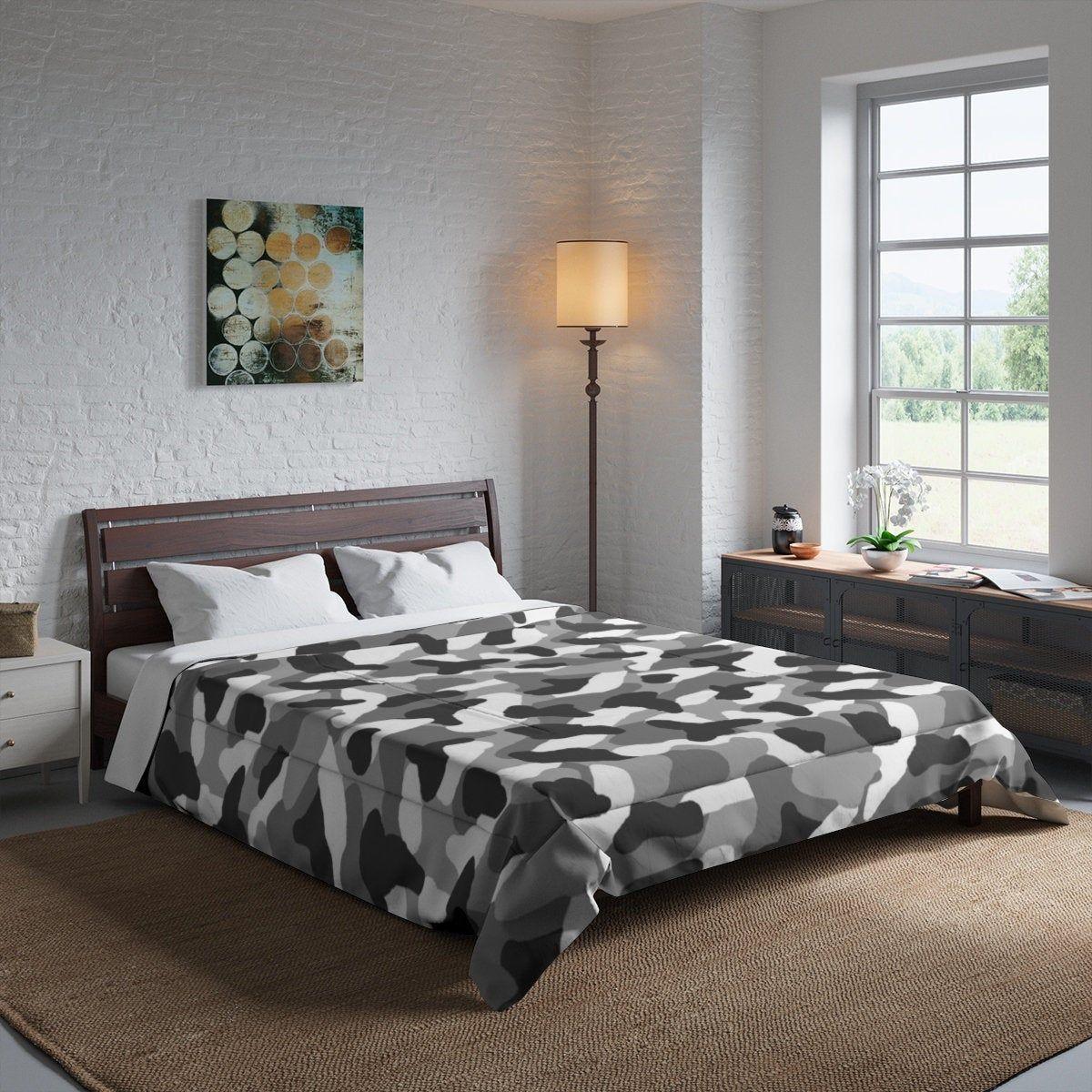 Gray Camo Comforter Bedding Blanket Grey Camouflage King Queen Full Twin Bed Kids Room Home Decor Rustic Farmho Bed Comforters Rooms Home Decor Kids Twin Bed