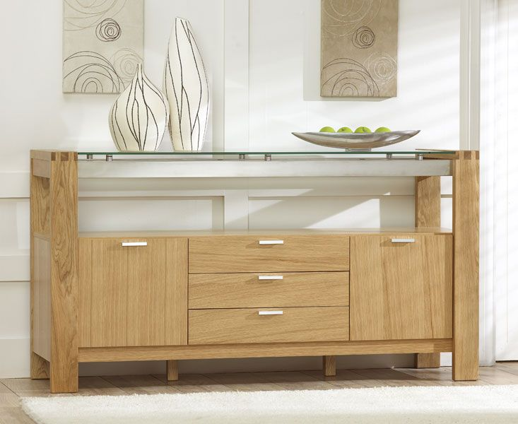 Buy The Cannes Oak And Glass Sideboard At Furniture Superstore