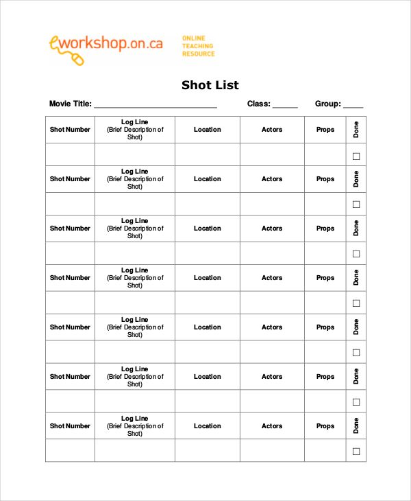 Simple Film Shot List Template , Essential Elements To Be Involved