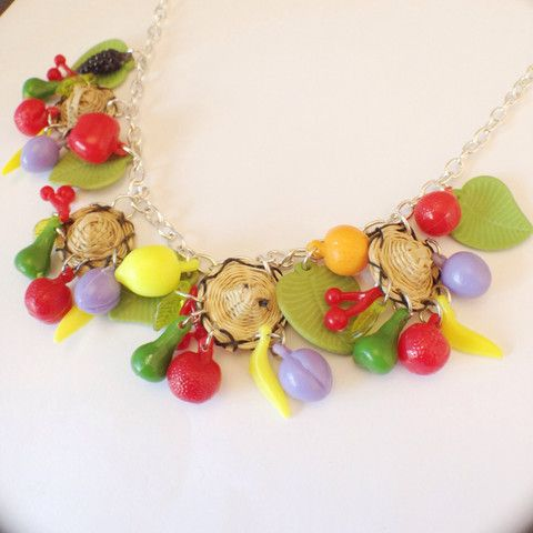 Fruit & Wicker Hat Necklace & Earring Set, , Necklace, Bow & Crossbones, Bow & Crossbones   - 1