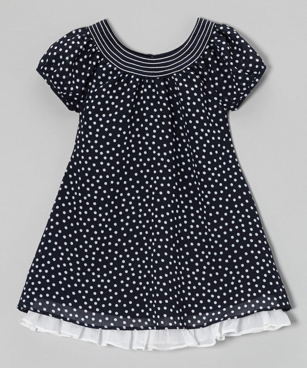 ae17afe44ab6 Loving this Navy   White Ruffle Hem Swing Dress - Toddler   Girls on ...