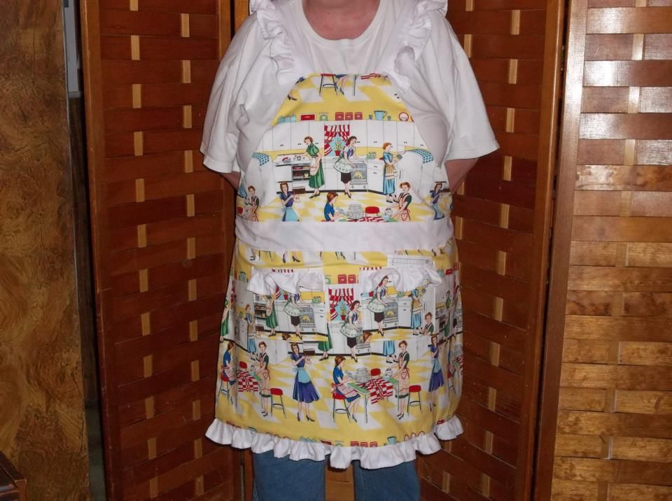 Retro kitchen ladies apron made by Fried Green Aprons