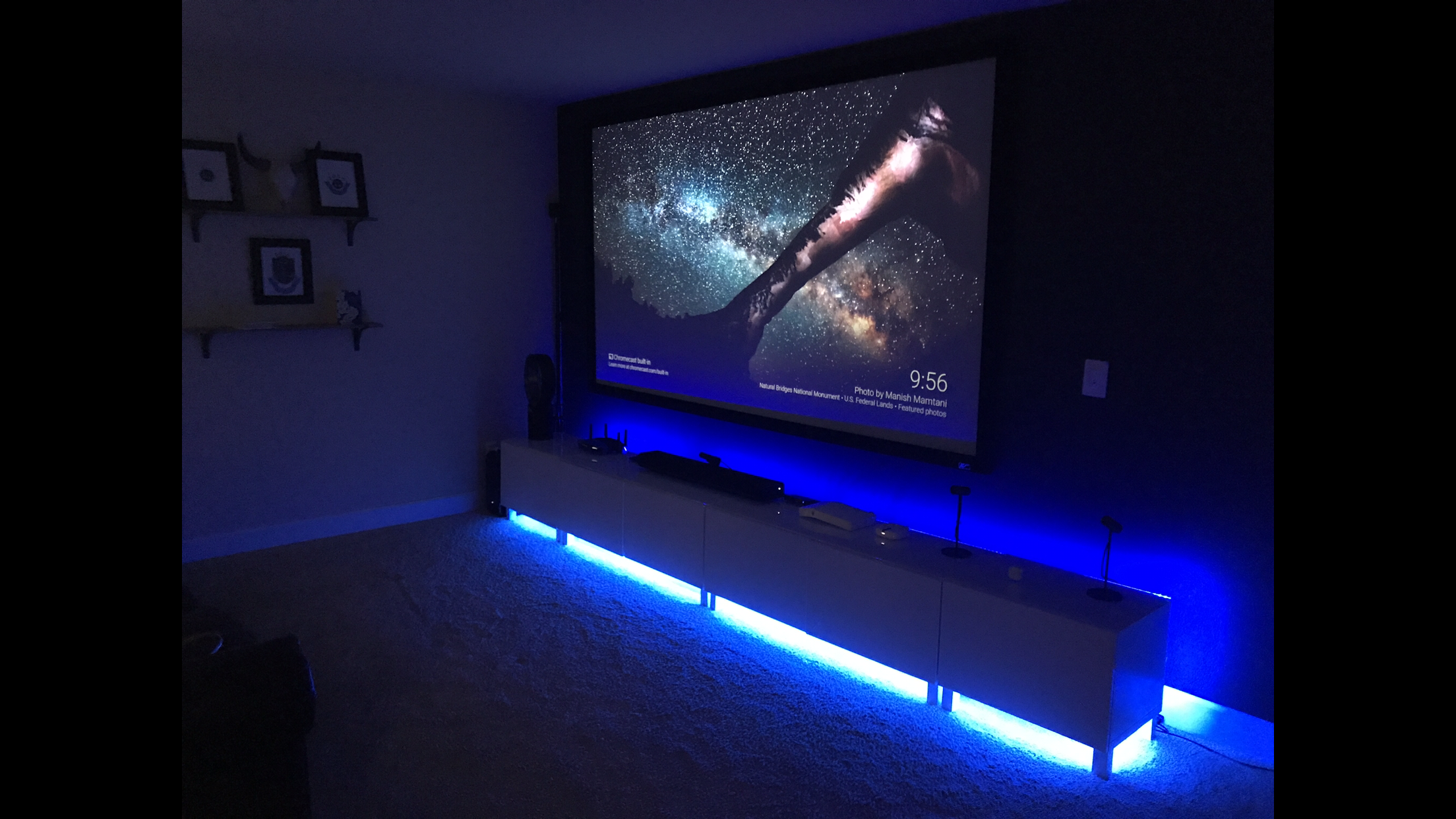 My Man Cave Movie Screen And Rgb Lights