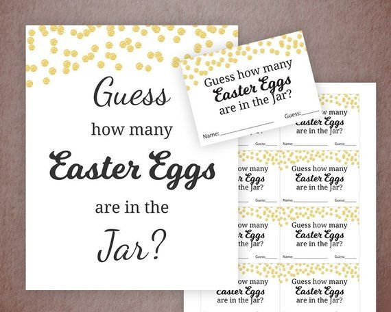 picture regarding Guess How Many in the Jar Printable named Easter Eggs Guessing Activity, Little one Shower Video games Printable, Gold