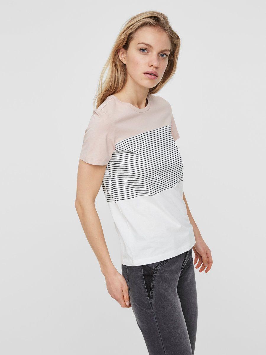 Kurzärmeliges T-Shirt von Noisy may   Rundhalsausschnitt   Streifen ...